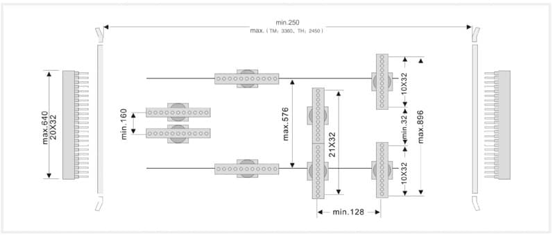 Расстояния между траверсами станка WDX-6462